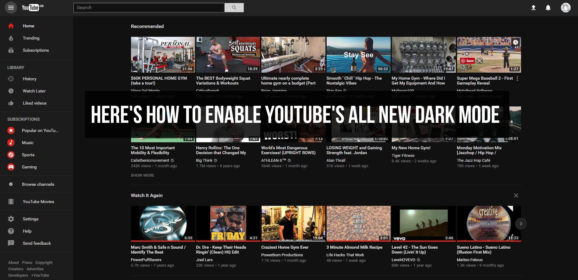how to change youtube dark mode